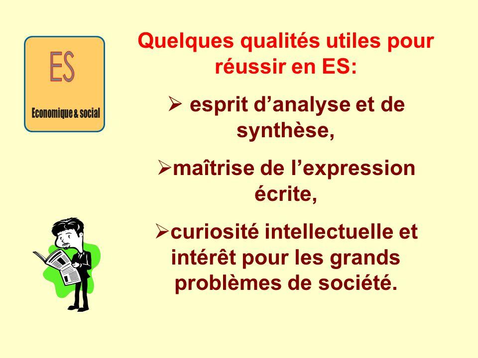 Quelques qualités utiles pour réussir en ES: esprit danalyse et de synthèse, maîtrise de lexpression écrite, curiosité intellectuelle et intérêt pour