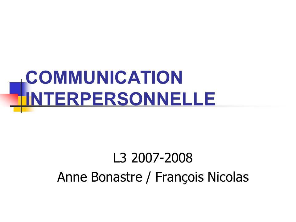 COMMUNICATION INTERPERSONNELLE L3 2007-2008 Anne Bonastre / François Nicolas