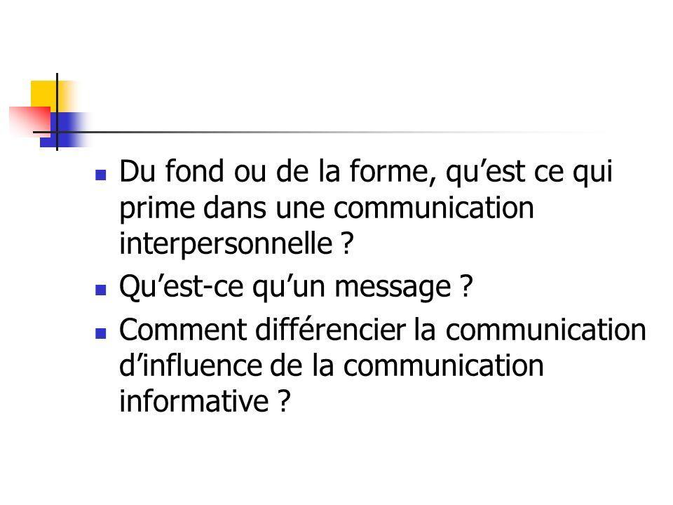 Du fond ou de la forme, quest ce qui prime dans une communication interpersonnelle ? Quest-ce quun message ? Comment différencier la communication din