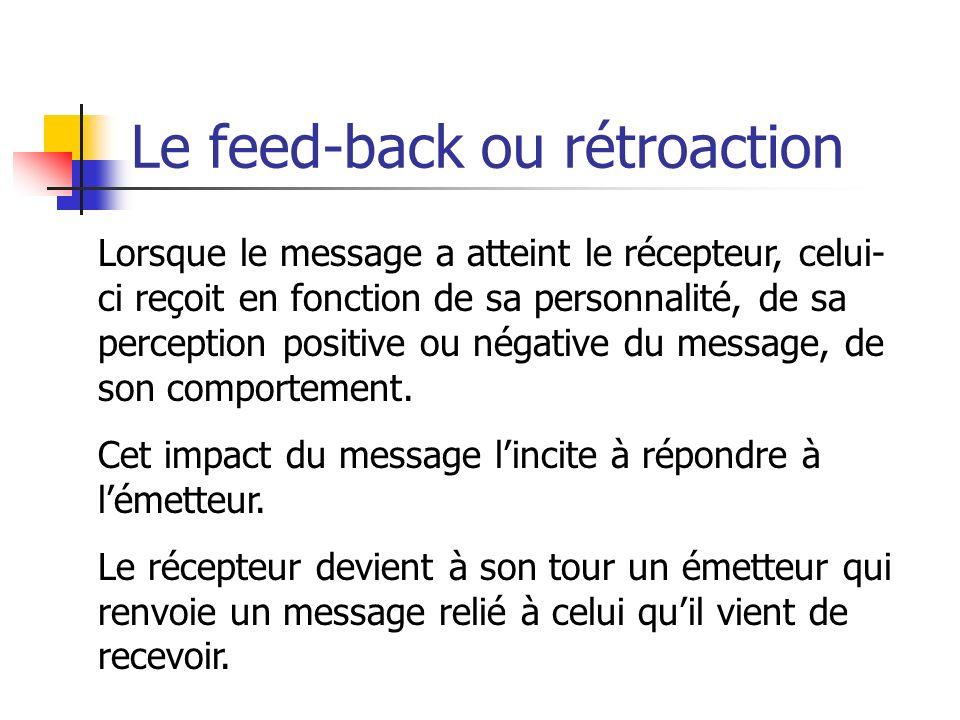 Le feed-back ou rétroaction Lorsque le message a atteint le récepteur, celui- ci reçoit en fonction de sa personnalité, de sa perception positive ou n