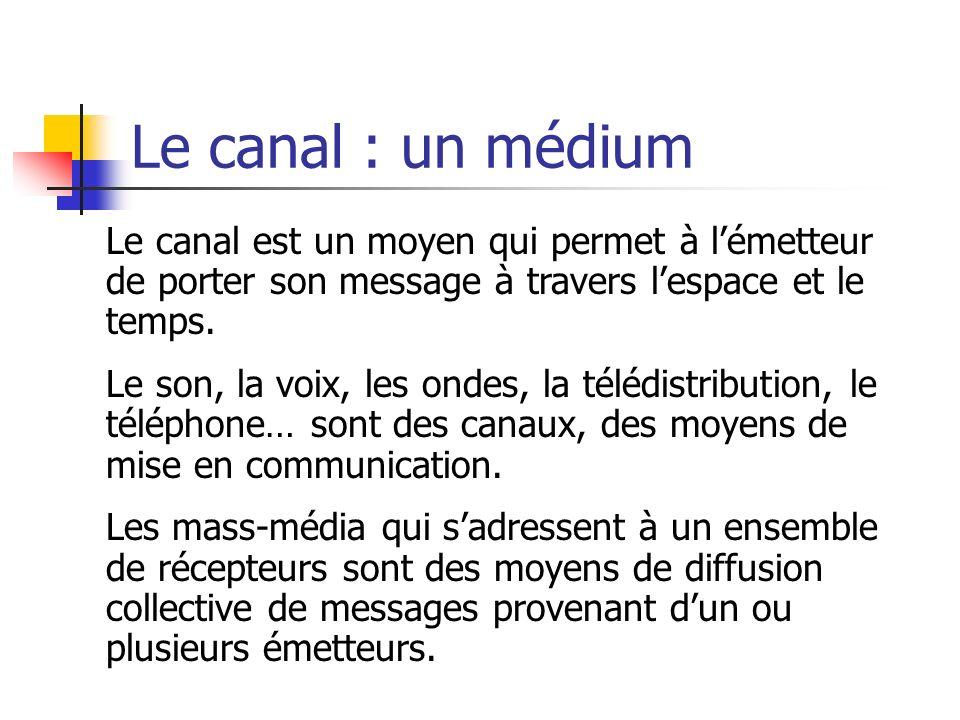 Le canal : un médium Le canal est un moyen qui permet à lémetteur de porter son message à travers lespace et le temps. Le son, la voix, les ondes, la