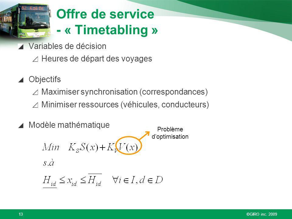 ©GIRO inc. 200913 Variables de décision Heures de départ des voyages Objectifs Maximiser synchronisation (correspondances) Minimiser ressources (véhic