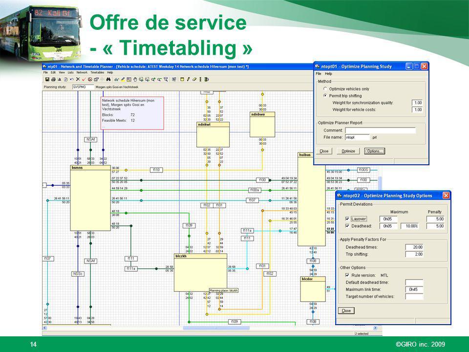 ©GIRO inc. 200914 Offre de service - « Timetabling »