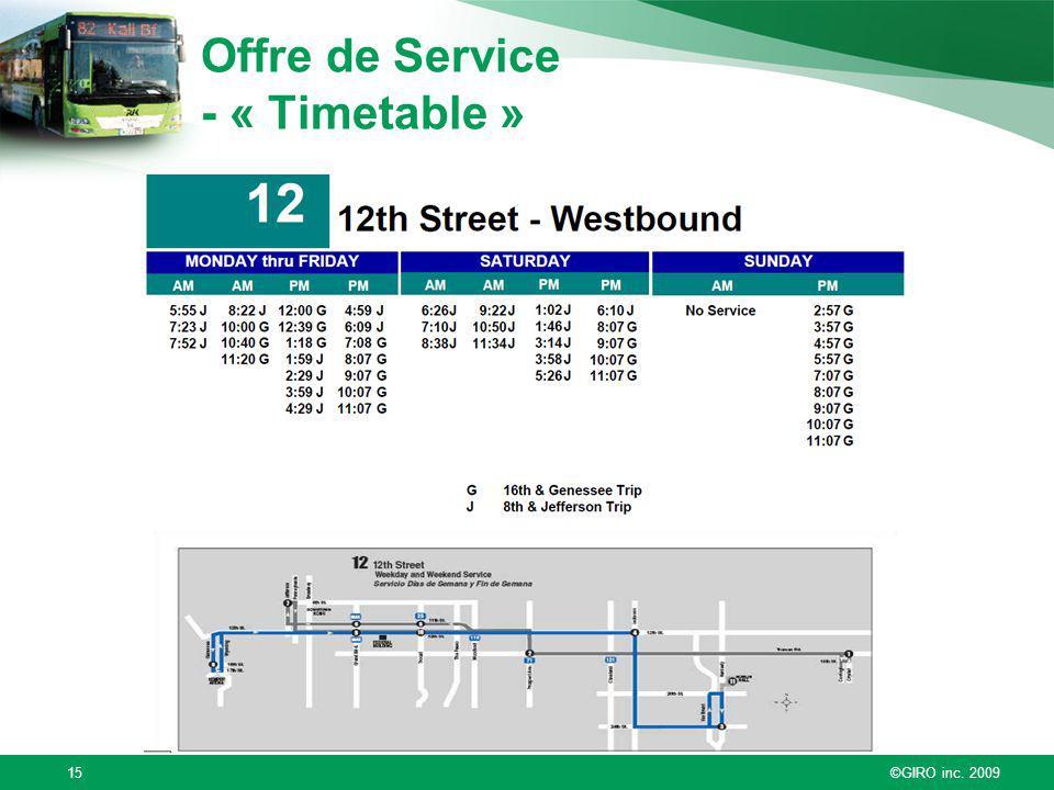 ©GIRO inc. 200915 Offre de Service - « Timetable »