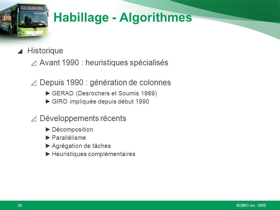 ©GIRO inc. 200926 Habillage - Algorithmes Historique Avant 1990 : heuristiques spécialisés Depuis 1990 : génération de colonnes GERAD (Desrochers et S
