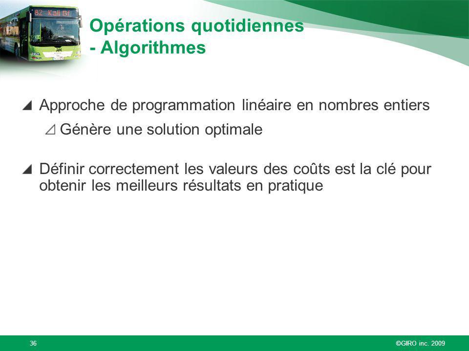 ©GIRO inc. 200936 Opérations quotidiennes - Algorithmes Approche de programmation linéaire en nombres entiers Génère une solution optimale Définir cor