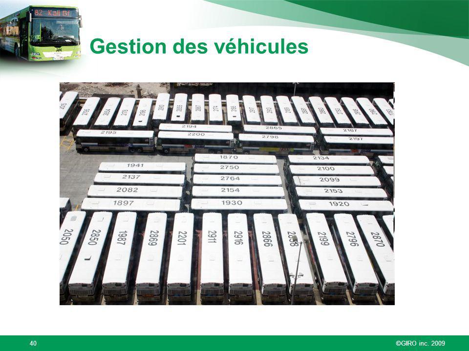 ©GIRO inc. 200940 Gestion des véhicules
