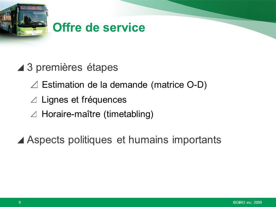 ©GIRO inc. 20099 Offre de service 3 premières étapes Estimation de la demande (matrice O-D) Lignes et fréquences Horaire-maître (timetabling) Aspects