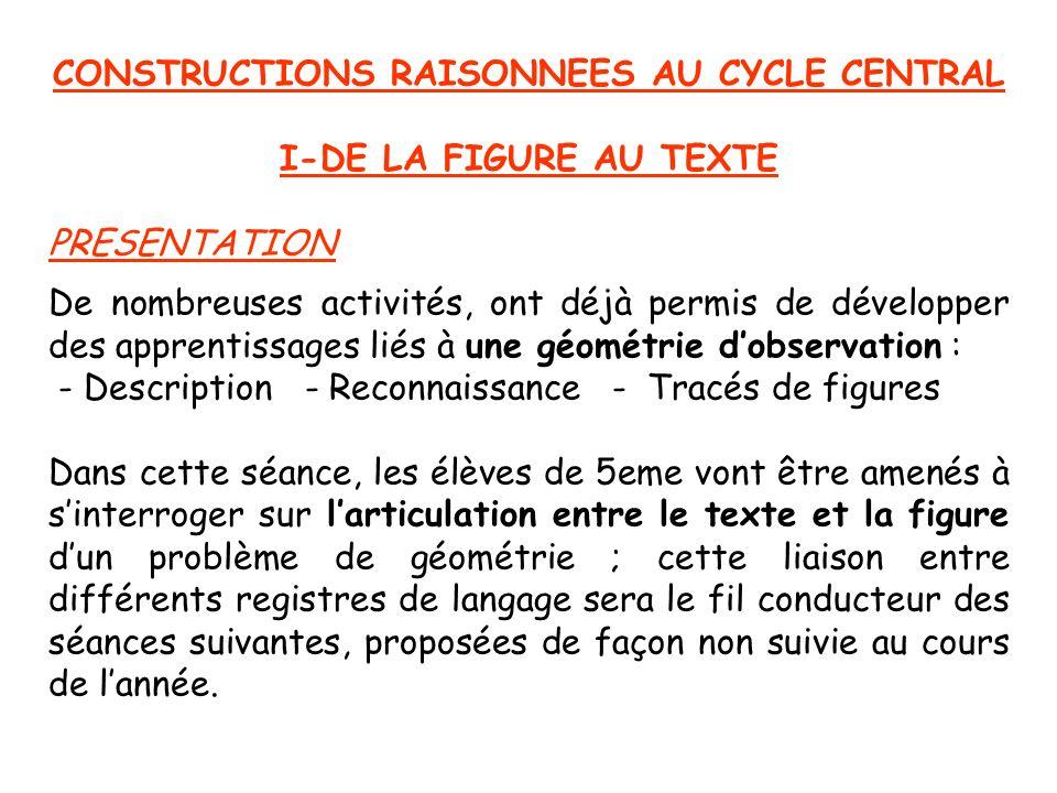 CONSTRUCTIONS RAISONNEES AU CYCLE CENTRAL I-DE LA FIGURE AU TEXTE PRESENTATION De nombreuses activités, ont déjà permis de développer des apprentissag