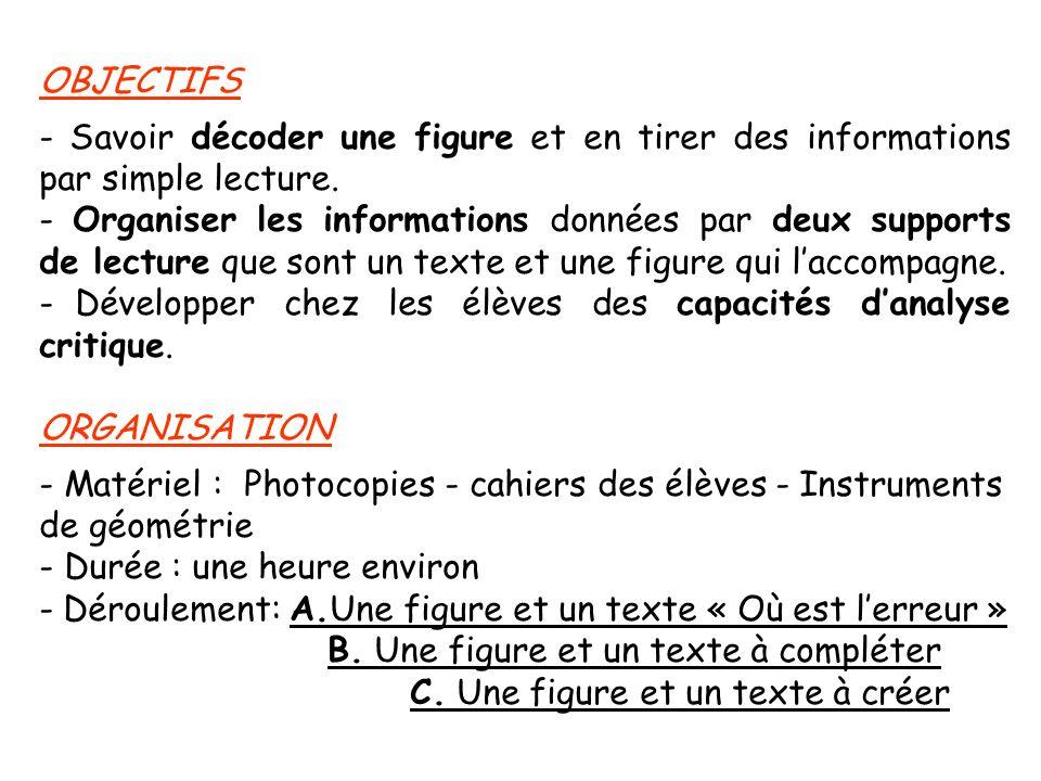 OBJECTIFS - Savoir décoder une figure et en tirer des informations par simple lecture. - Organiser les informations données par deux supports de lectu