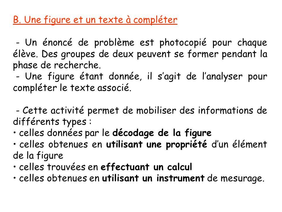 B. Une figure et un texte à compléter - Un énoncé de problème est photocopié pour chaque élève. Des groupes de deux peuvent se former pendant la phase