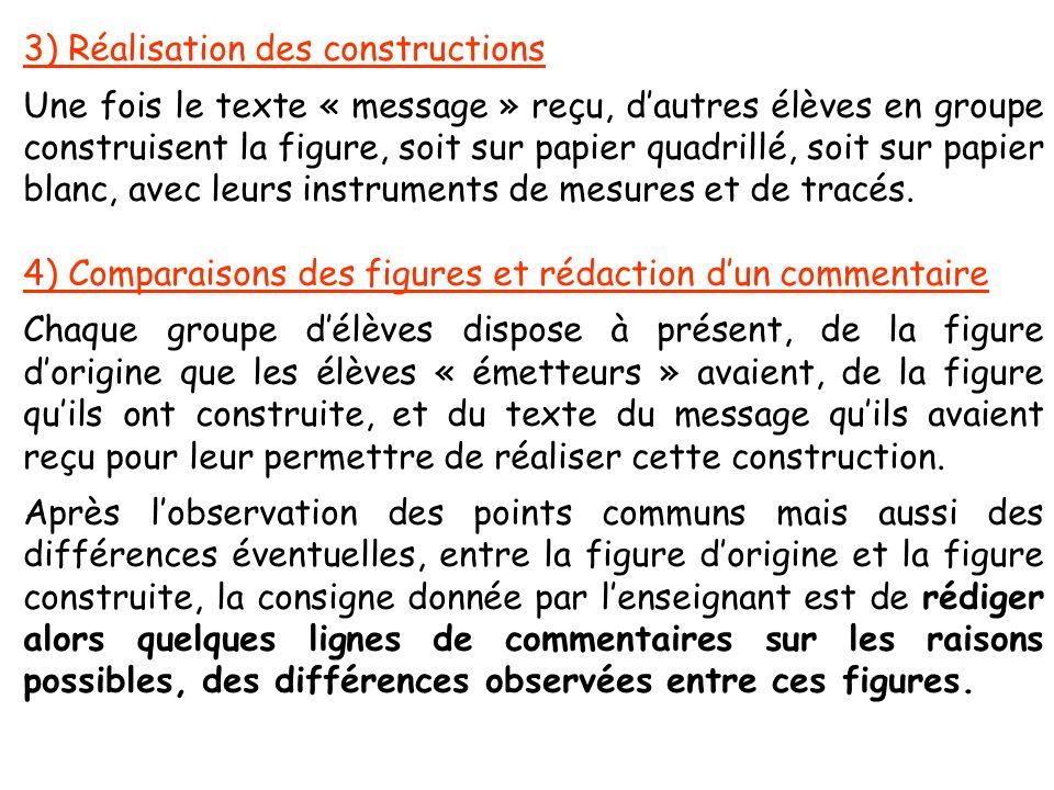 3) Réalisation des constructions Une fois le texte « message » reçu, dautres élèves en groupe construisent la figure, soit sur papier quadrillé, soit