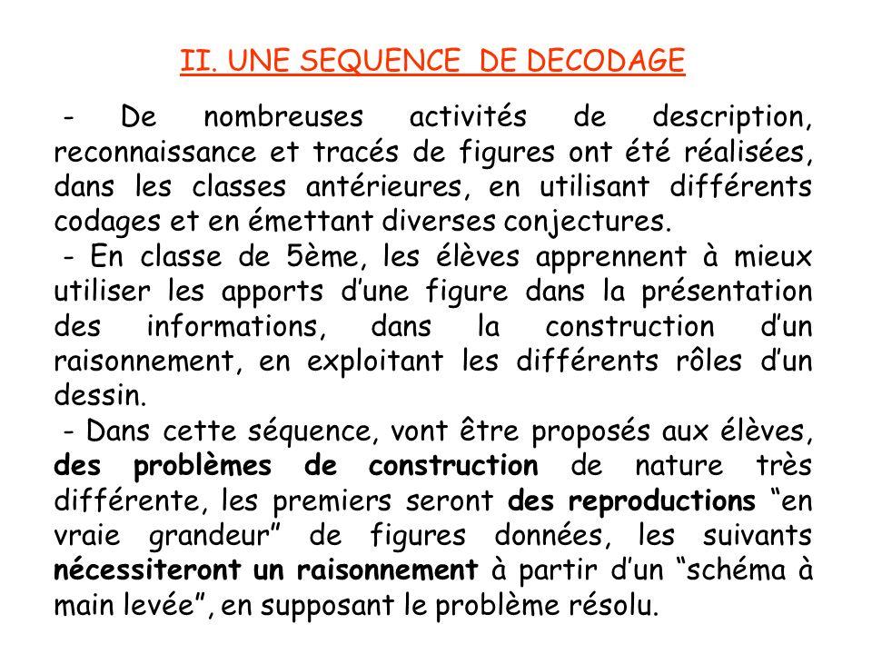 II. UNE SEQUENCE DE DECODAGE - De nombreuses activités de description, reconnaissance et tracés de figures ont été réalisées, dans les classes antérie