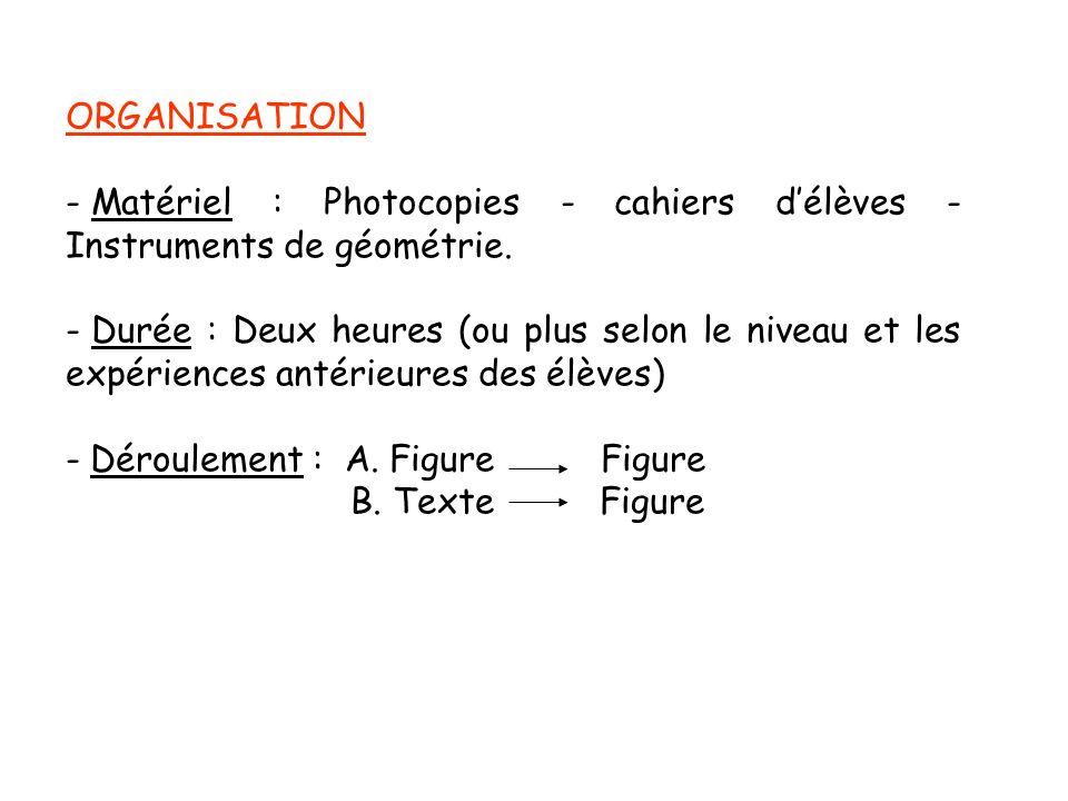 ORGANISATION - Matériel : Photocopies - cahiers délèves - Instruments de géométrie. - Durée : Deux heures (ou plus selon le niveau et les expériences