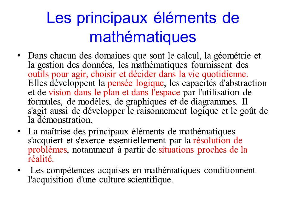 Les principaux éléments de mathématiques Dans chacun des domaines que sont le calcul, la géométrie et la gestion des données, les mathématiques fourni