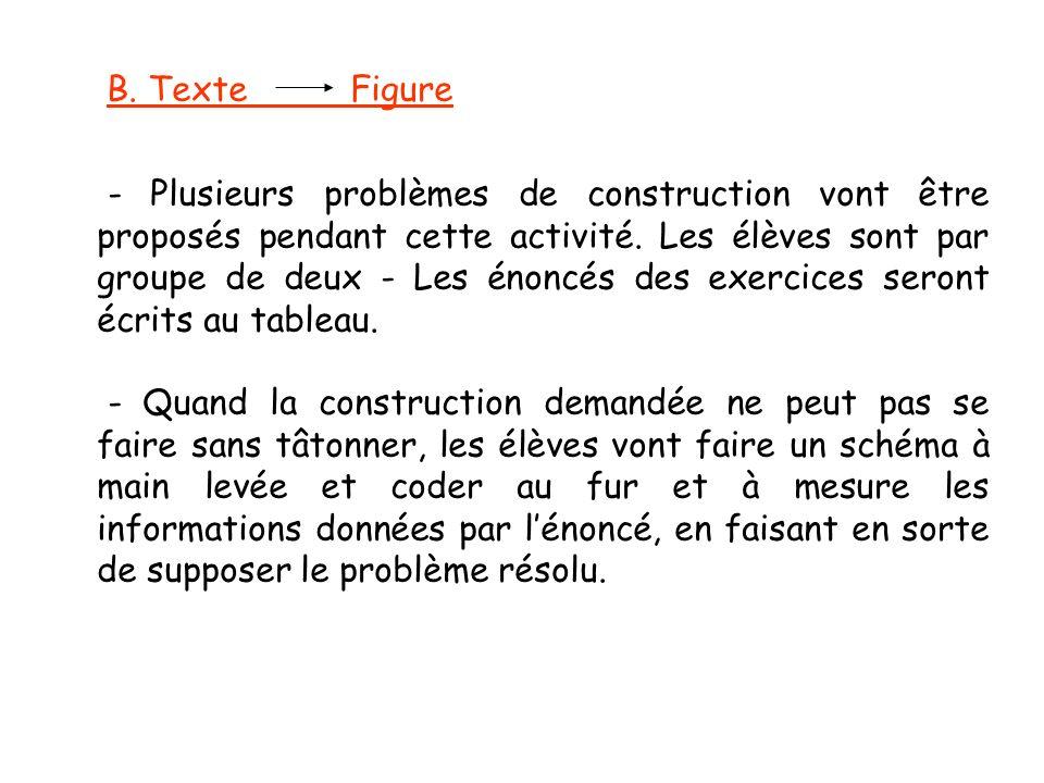 B. Texte Figure - Plusieurs problèmes de construction vont être proposés pendant cette activité. Les élèves sont par groupe de deux - Les énoncés des
