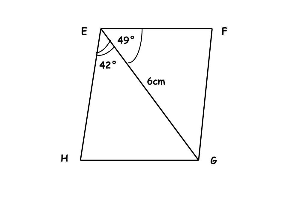 EF G H 6cm 49° 42°