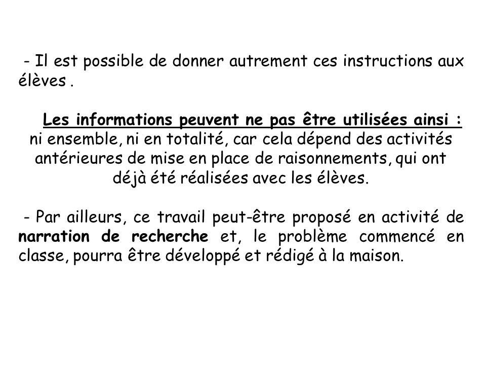 - Il est possible de donner autrement ces instructions aux élèves. Les informations peuvent ne pas être utilisées ainsi : ni ensemble, ni en totalité,