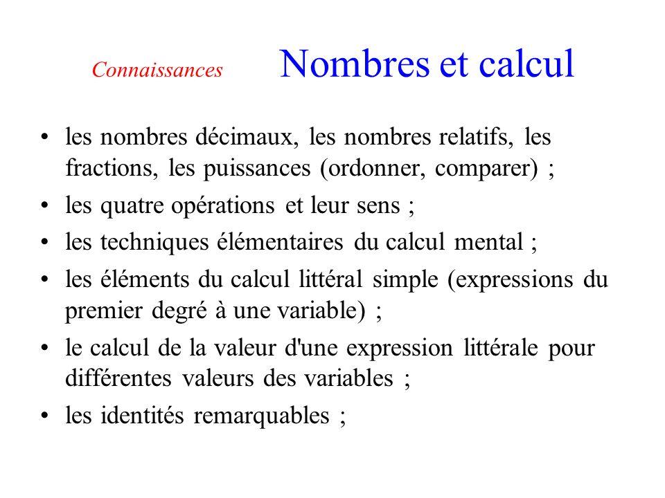 Connaissances Nombres et calcul les nombres décimaux, les nombres relatifs, les fractions, les puissances (ordonner, comparer) ; les quatre opérations