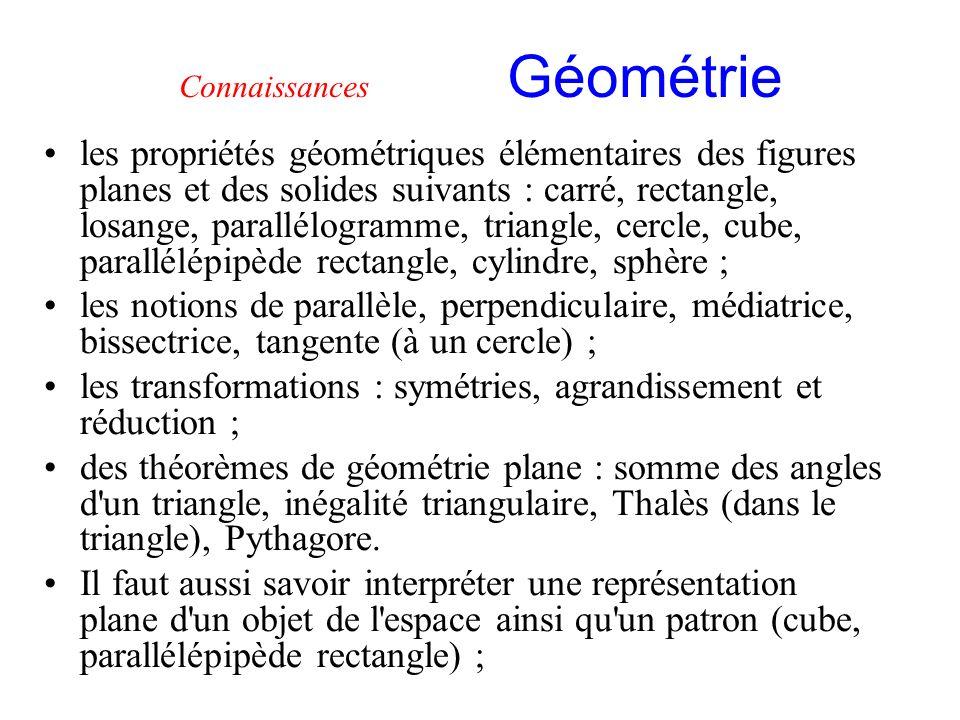 Connaissances Géométrie les propriétés géométriques élémentaires des figures planes et des solides suivants : carré, rectangle, losange, parallélogram