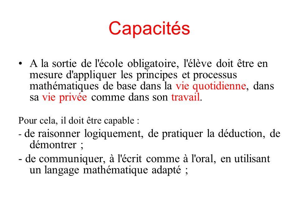 Capacités A la sortie de l'école obligatoire, l'élève doit être en mesure d'appliquer les principes et processus mathématiques de base dans la vie quo