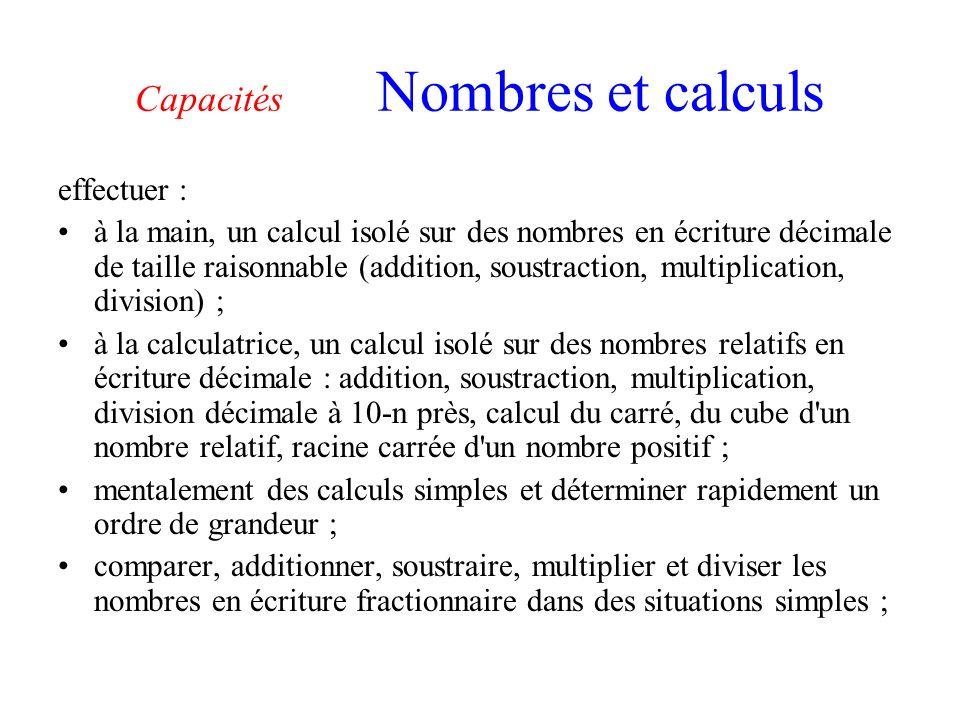 Capacités Nombres et calculs effectuer : à la main, un calcul isolé sur des nombres en écriture décimale de taille raisonnable (addition, soustraction