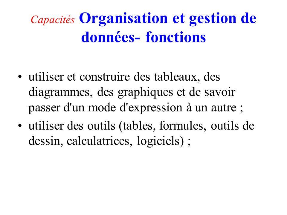 Capacités Organisation et gestion de données- fonctions utiliser et construire des tableaux, des diagrammes, des graphiques et de savoir passer d'un m