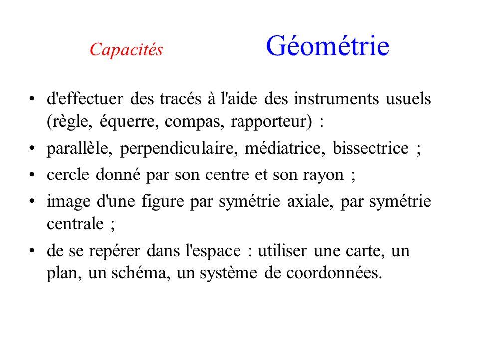 Capacités Géométrie d'effectuer des tracés à l'aide des instruments usuels (règle, équerre, compas, rapporteur) : parallèle, perpendiculaire, médiatri