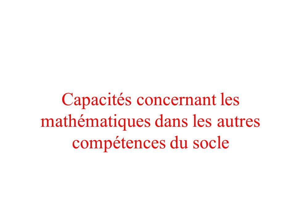 Capacités concernant les mathématiques dans les autres compétences du socle
