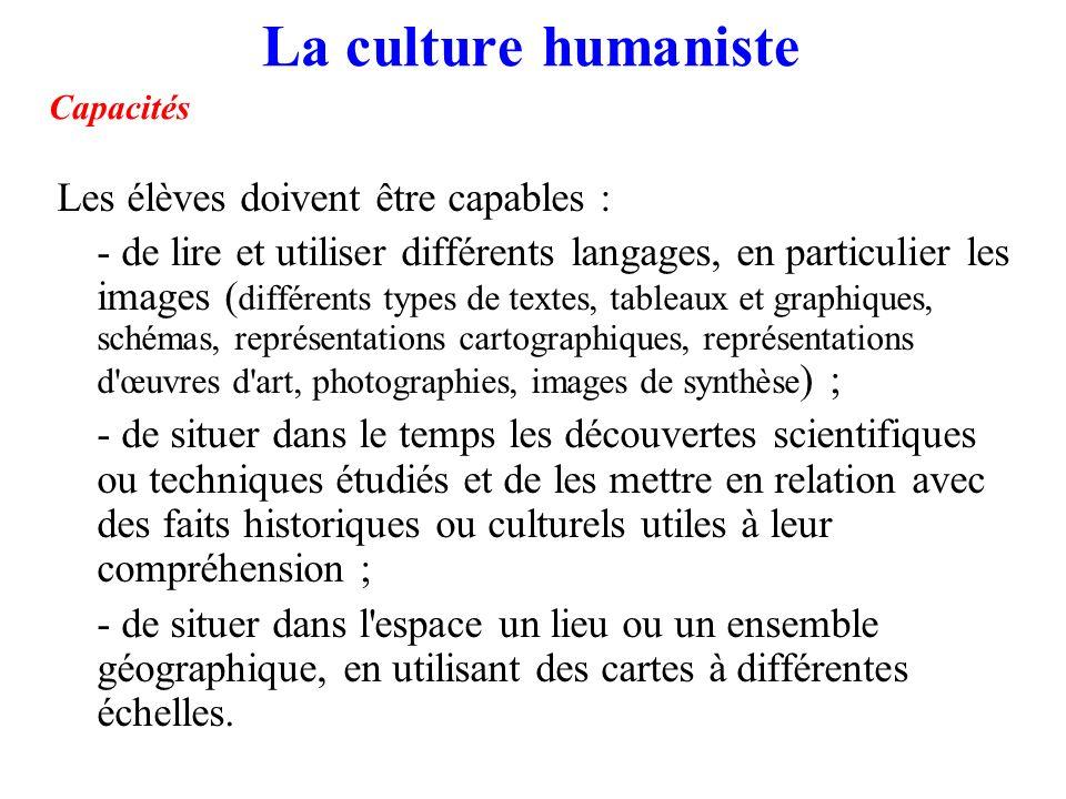 La culture humaniste Capacités Les élèves doivent être capables : - de lire et utiliser différents langages, en particulier les images ( différents ty