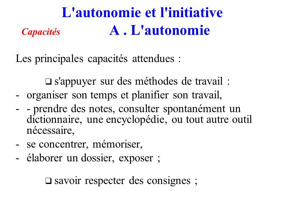 L'autonomie et l'initiative Capacités A. L'autonomie Les principales capacités attendues : s'appuyer sur des méthodes de travail : -organiser son temp