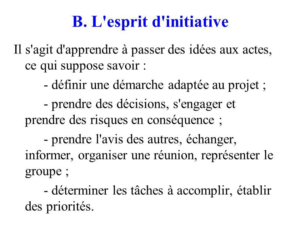 B. L'esprit d'initiative Il s'agit d'apprendre à passer des idées aux actes, ce qui suppose savoir : - définir une démarche adaptée au projet ; - pren