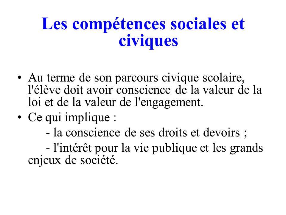 Les compétences sociales et civiques Au terme de son parcours civique scolaire, l'élève doit avoir conscience de la valeur de la loi et de la valeur d