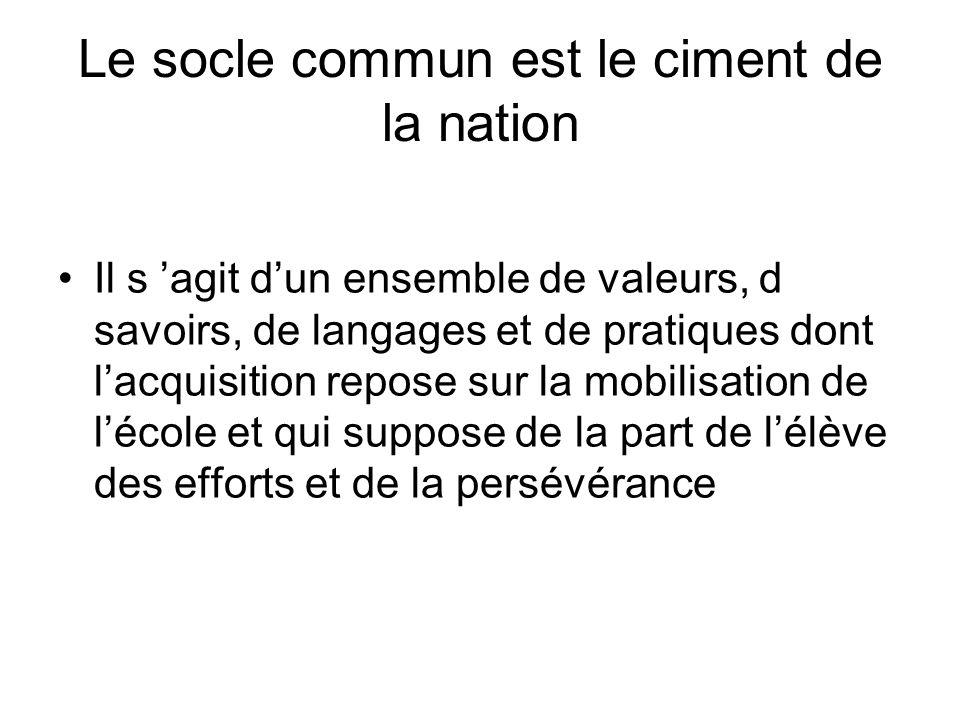 Le socle commun est le ciment de la nation Il s agit dun ensemble de valeurs, d savoirs, de langages et de pratiques dont lacquisition repose sur la m