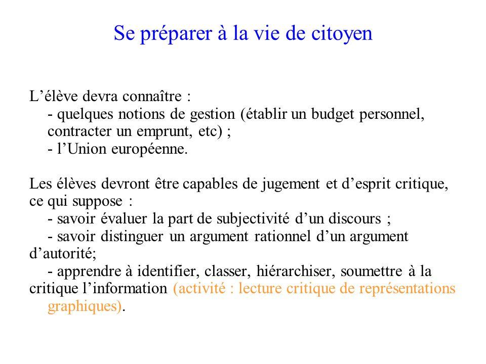 Se préparer à la vie de citoyen Lélève devra connaître : - quelques notions de gestion (établir un budget personnel, contracter un emprunt, etc) ; - l