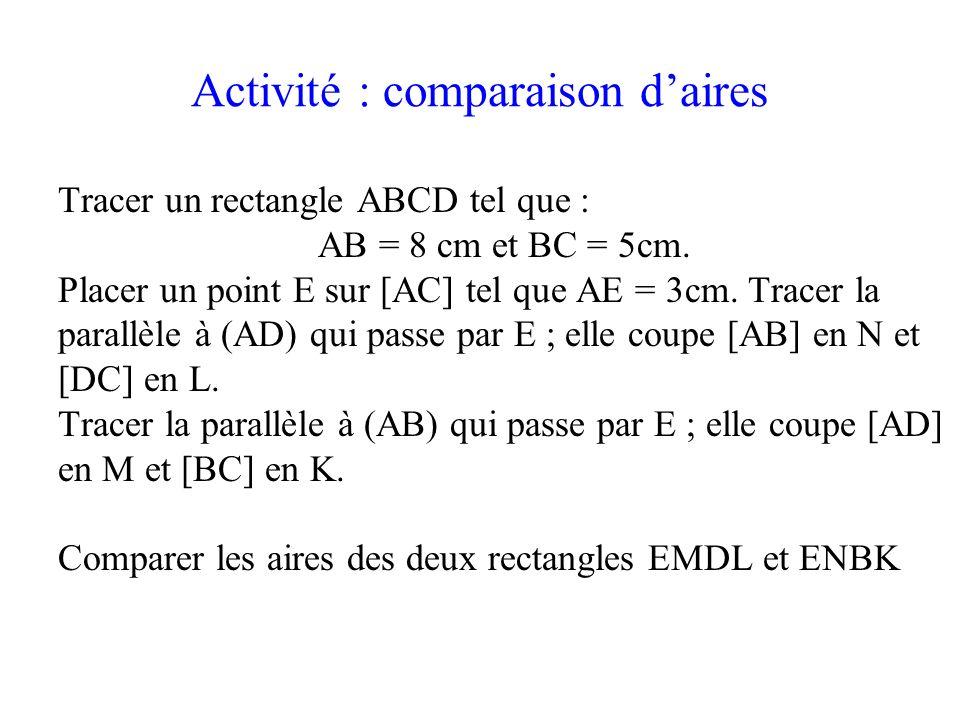 Activité : comparaison daires Tracer un rectangle ABCD tel que : AB = 8 cm et BC = 5cm. Placer un point E sur [AC] tel que AE = 3cm. Tracer la parallè