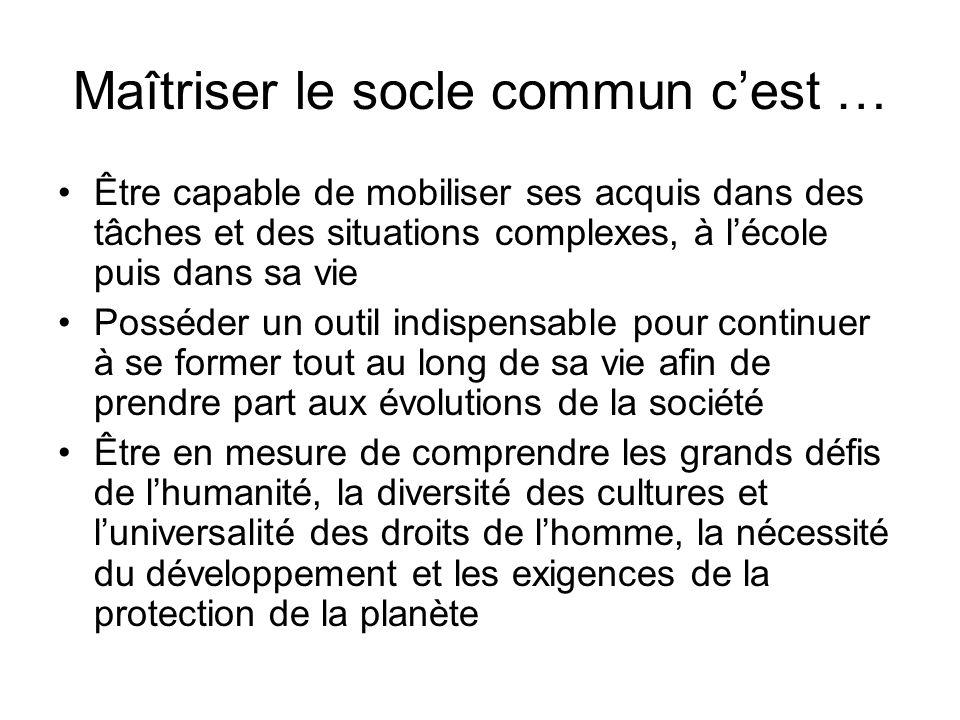 Le socle commun sorganise en sept compétences …….