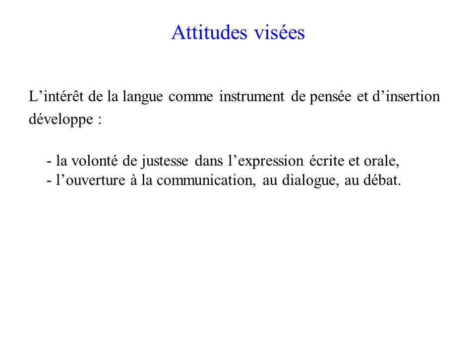 Attitudes visées Lintérêt de la langue comme instrument de pensée et dinsertion développe : - la volonté de justesse dans lexpression écrite et orale,