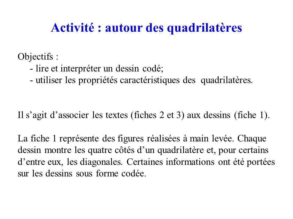 Activité : autour des quadrilatères Objectifs : - lire et interpréter un dessin codé; - utiliser les propriétés caractéristiques des quadrilatères. Il