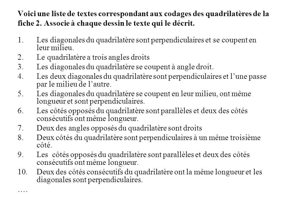 Voici une liste de textes correspondant aux codages des quadrilatères de la fiche 2. Associe à chaque dessin le texte qui le décrit. 1.Les diagonales