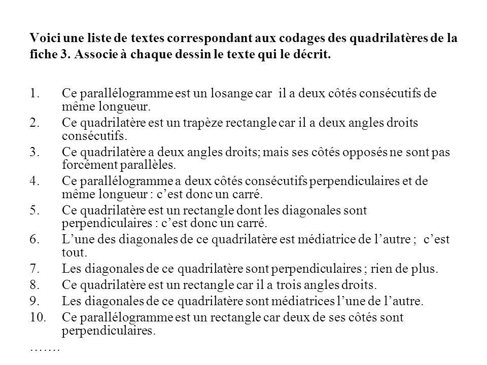 Voici une liste de textes correspondant aux codages des quadrilatères de la fiche 3. Associe à chaque dessin le texte qui le décrit. 1.Ce parallélogra