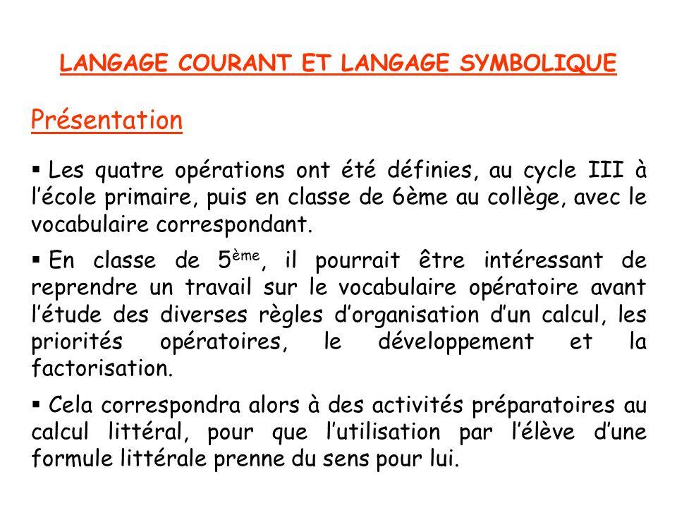 LANGAGE COURANT ET LANGAGE SYMBOLIQUE Présentation Les quatre opérations ont été définies, au cycle III à lécole primaire, puis en classe de 6ème au c