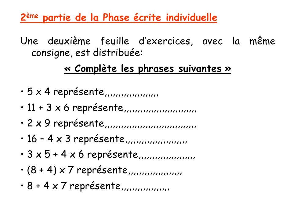 2 ème partie de la Phase écrite individuelle Une deuxième feuille dexercices, avec la même consigne, est distribuée: « Complète les phrases suivantes