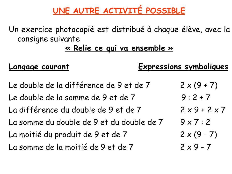 UNE AUTRE ACTIVITÉ POSSIBLE Un exercice photocopié est distribué à chaque élève, avec la consigne suivante « Relie ce qui va ensemble » Langage couran