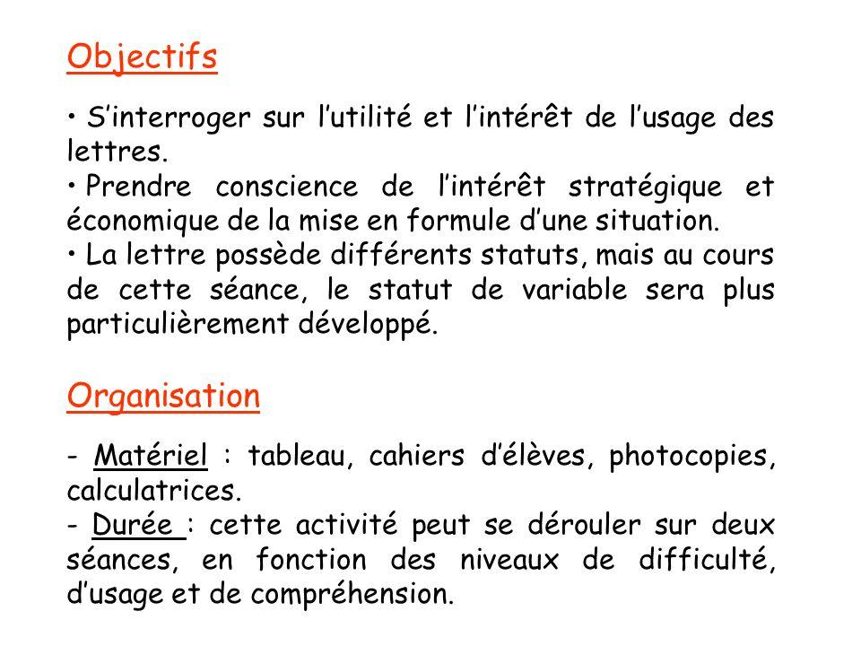 Objectifs Sinterroger sur lutilité et lintérêt de lusage des lettres. Prendre conscience de lintérêt stratégique et économique de la mise en formule d