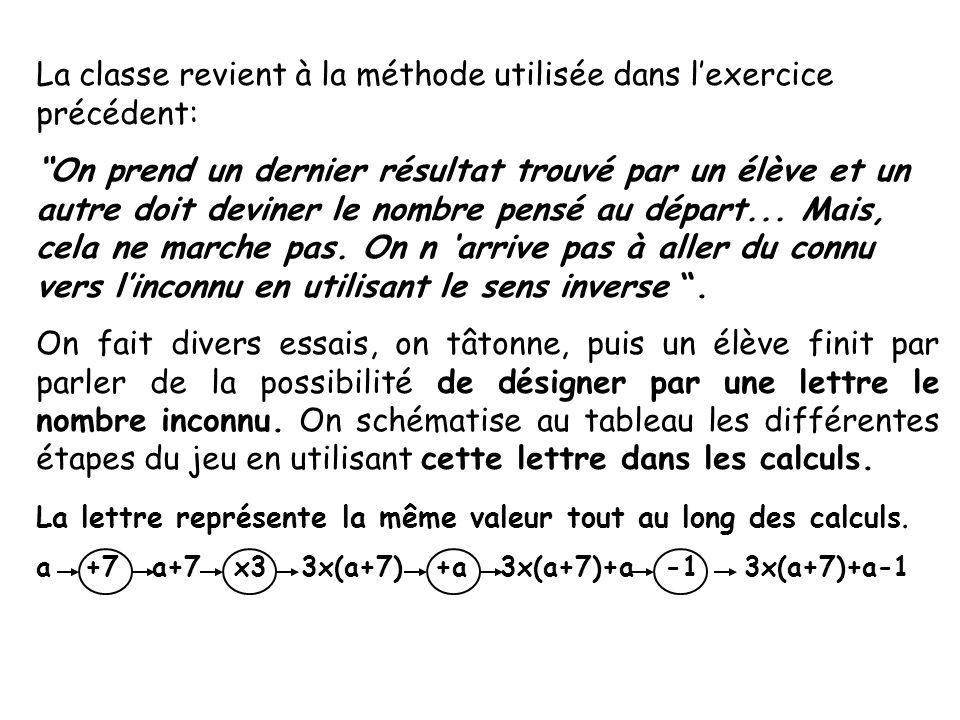 La classe revient à la méthode utilisée dans lexercice précédent: On prend un dernier résultat trouvé par un élève et un autre doit deviner le nombre