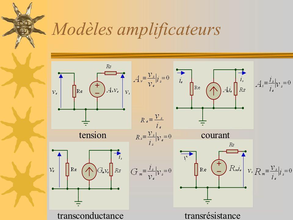 Modèles amplificateurs tensioncourant transconductancetransrésistance