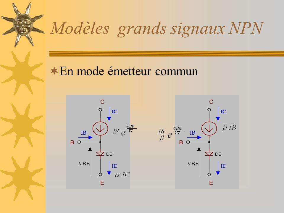 Modèles grands signaux NPN En mode émetteur commun VBE IC IB IC IE VBE IC IB IC IE