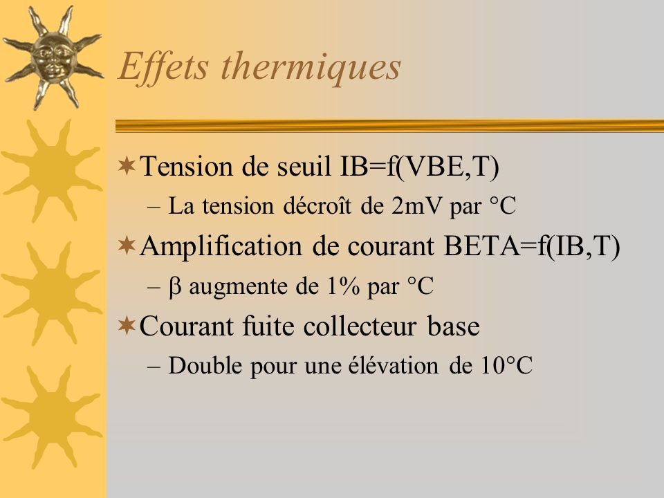 Effets thermiques Tension de seuil IB=f(VBE,T) –La tension décroît de 2mV par °C Amplification de courant BETA=f(IB,T) – augmente de 1% par °C Courant