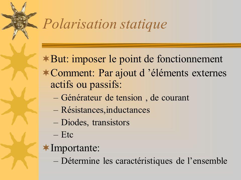 Polarisation statique But: imposer le point de fonctionnement Comment: Par ajout d éléments externes actifs ou passifs: –Générateur de tension, de cou
